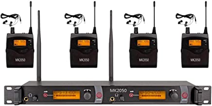Wireless In Ear Monitor System Audio UHF MK2050 Transmitter With 4 Receivers 80 Channel Monitoring Recording Studio Stage Pro Audio Musical 572-603 MHz Two Year Free Warranty