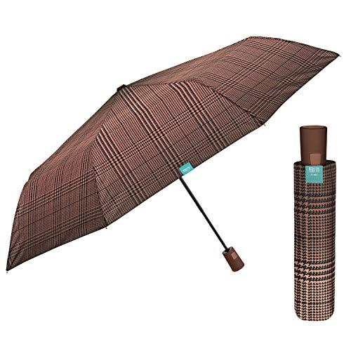 Paraguas Mujer Portátil Automático - Sombrilla de Lluvia con Detalles Escoceses Colorados - Resistente Al Viento Compacto y Ligero - Paraguas Chicas Diámetro 96 cm PERLETTI (Galles Degradado Ocre)