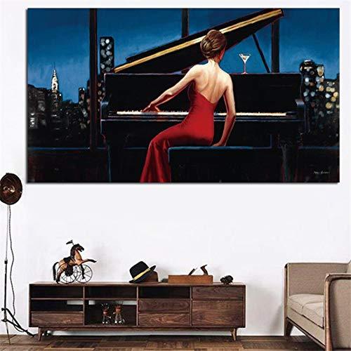 yaoxingfu Rahmenlos Ohne Rahmen HD Print Musiker Wandkunst Mädchen Spielen Klavier Poster und Drucken in Öl ng 40x60cm