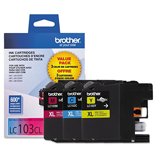 Brother Genuine High Yield Color Ink Cartridge, 3 Pack of LC103 , Replacement Color Ink Three Pack, Includes 1 Cartridge Each of Cyan, Magenta & Yellow, Page Yield Upto 600 Pages/Cartridge, LC103