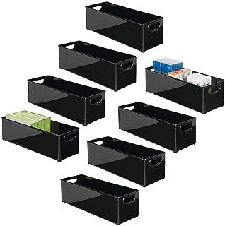 mDesign boîte de Rangement avec poignée (Lot de 8) – Rangement Bureau Amovible en Plastique – Organiseur de Bureau pour Le...