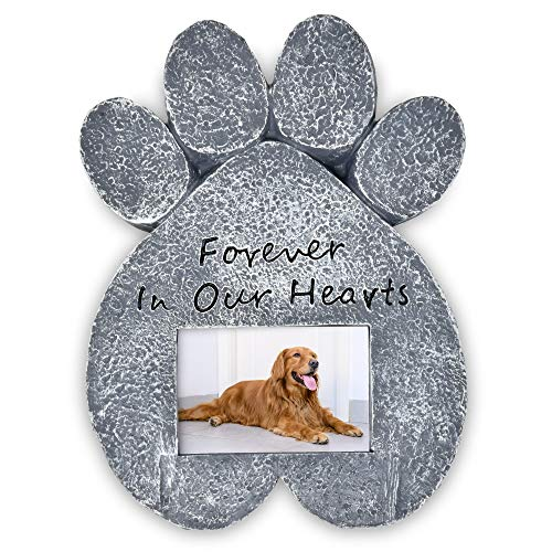 Dog Memorial Stone-Pet Memory Picture Frame Pawprints Grave Stone Marker Headstone Remembrance Sympathy Tombstone Statue Cat Dogs Puppy Pets Loss Keepsake Gift for Outdoor Garden Lawn Yard Gravestone