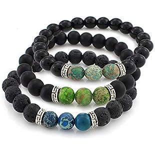 Nicete 3 Pcs Chakras Stretch Bracelet Healing Gemstone Oil Diffuser Bracelet Beaded Crystal Bracelet Religious Lava Stone Bracelet Christmas Birthday Gifts for Men Girlfriend (3 Color)
