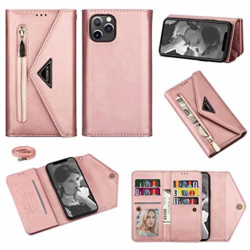 Funda con Cuerda Compatible de Cuero Tarjeta para teléfonos móviles Huawei de iPhone 1 Zip Bobina Bolsillo 1 Foto 6 Tarjeta a través de la Correa del Hombro Ajustable,Rose Gold,iPhone6s Plus