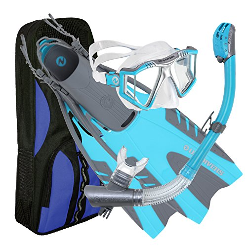 U.S. Divers Lux Platinum Snorkel Set Compatible with GoPro - Panoramic View Mask, Pivot Fins, Dry...