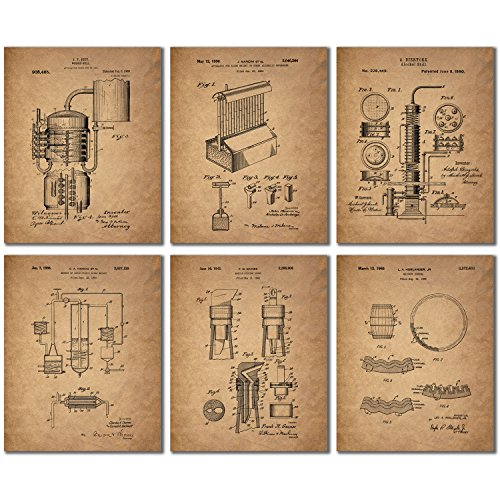 Whiskey Patent Wall Art Prints - Set of 6 Vintage Whisky Pho...