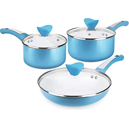Pink /& Green /& Blue Fry Pan Set with Induction Base for Induction Electric and Ceramic Glass 8//9.5//11 inch Frying Pan Set with Lid SHINEURI 6 Pieces Ceramic Nonstick Pan Set Dishwasher Safe