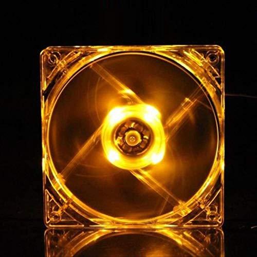 JSZ Ventilador Pc Led 120 * 120 * 25mm Led Luz CPU Ventilador de Enfriamiento Transparente Transparente Quad 1200 RPM Disipador de Calor Enfriador Ventilador Amarillo