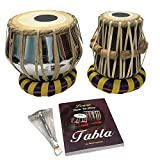 Satnam Steel Bayan Hand Crafted Professional Steel Tabla Drum Set for Student and Beginners with Tabla Set Gig Bag | Tabla Set Hammer | Tabla Set - Music Book | Tabla Cushions & Cover - Made in India