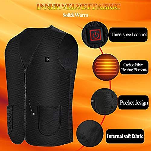 Vest, verwarmde jas voor heren met USB-oplader, verwarmd vest voor dames en heren, voor outdoor-wandelen, jagen, motorrijden. The
