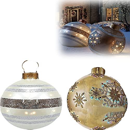 DUANQIAN 3PC Palla Gonfiabile Decorata All'aperto di Natale, Decorazioni dell'albero di Natale della Palla Gonfiabile Gigante di Natale, Decorazioni all'aperto gonfiabili di Natale (2pc)