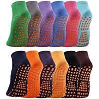 12-Pairs WANZHIHUI Non Slip Skid Gripper Trampoline Socks