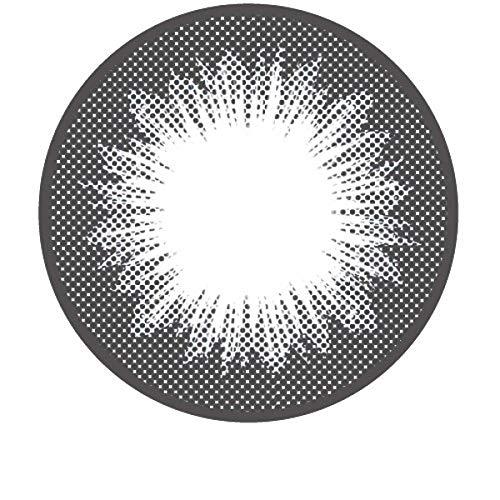 Matlens - Pro Trend Farbige Kontaktlinsen mit Stärke Black schwarz Big Eyes Circle Lenses GPW-L15 2 Linsen 1 Kontaktlinsenbehälter 1 Pflegemittel 50ml