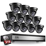 ZOSI 16 Channel Security Camera System 1080p, 1080N H.265+ Hybrid 16 Channel DVR with Hard Drive 2TB and 12 x 1080p CCTV Dome Camera Outdoor Indoor, 80ft Night Vision, 90° View Angle, Remote Access