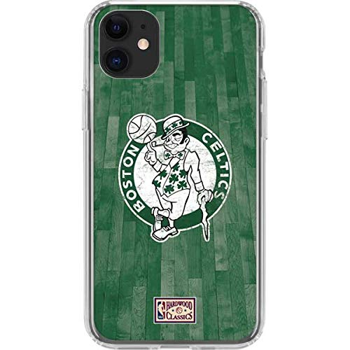 Skinit Clear Phone Case Compatible with iPhone 11 - Officially Licensed NBA Boston Celtics Hardwood Classics Design