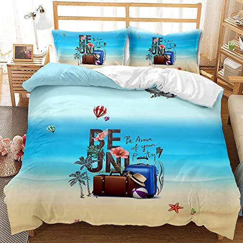 ACTMSY Juego de Funda 3 Piezas Conjunto de edredón 3D Maleta de Playa Azul Impresa Funda de edredón 135X200 cm con Cierre con de Cremallera Microfibra Suave con 2 Fundas de Almohada