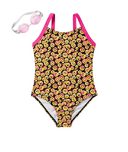 Emojination Little Girls 1-pc Emoji Swimsuit with Goggles, Black (4/5)