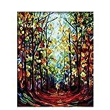 Pintura al óleo por número paisaje con marco pintura acrílica para adultos colorear por número dibujo decoración del hogar