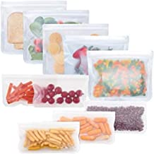 Reusable Storage Bags 10 Pack, FDA Food Grade Ziplock Lunch Bags, Leakproof Freezer Bag for Snacks, Fruits, Sandwiches, Ma...