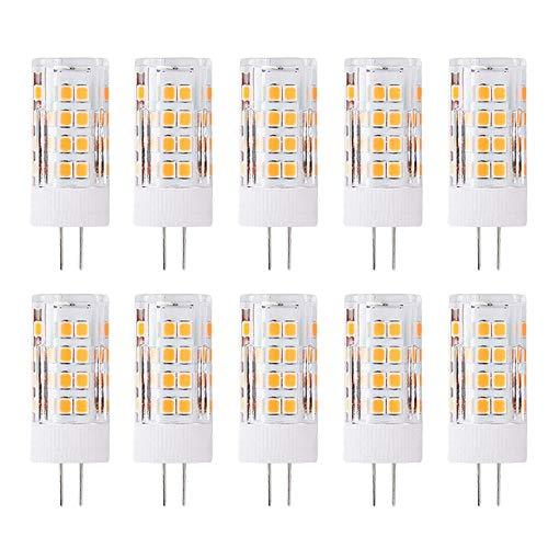 G4 Bombilla de LED de 5W,400lm,3000K Blanco Cálido,Recambio de 40 Vatios,Ángulo de Haz de 360°,12V AC/DC,No Regulable Pack de 10