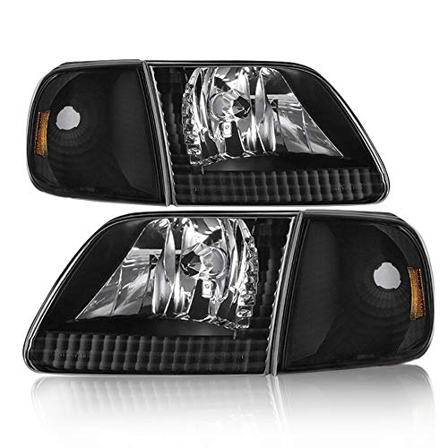 Headlight Assembly Compatible with 97-03 Ford F-150/04 Ford F-150 Heritage / 97-02 Ford Expedition Pickup Headlamp Driver and Passenger Side...