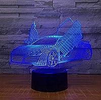Tatapai 3DナイトライトLEDイリュージョンランプクールなスポーツカー子供カップル家族の寝室のリビングルーム誕生日ホリデーギフトランプ
