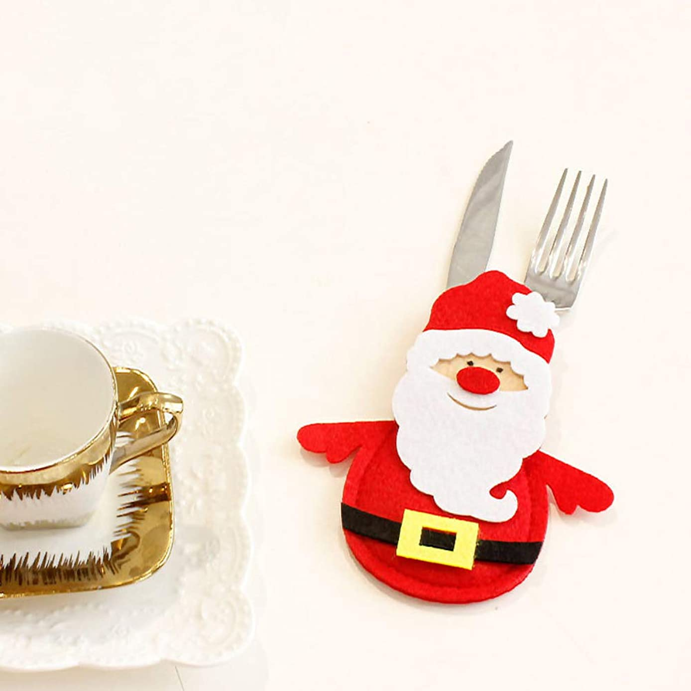 Youlaify Christmas Snowman Tableware Holder Stockings Pockets Knife and Fork Bags Party Decoration