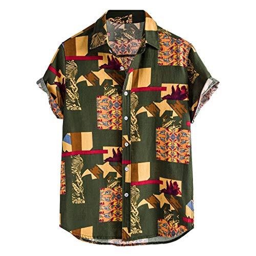 Xniral Herren Shirt Top Mehrfarbige Streifen/Tie-Dye Plus Size Graffiti Kurzarm Breitknöpfe Breite Blusen Mann Lustiges Druck-Urlaubs Strandhemd(m-Grün,Grün)