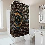 Gamoii Wikinger Drachen Runen Futhark Duschvorhang Bad Vorhänge 3D Digital Badewanne Vorhänge Wasserabweisend Badvorhänge mit Vorhanghaken White 150x200cm