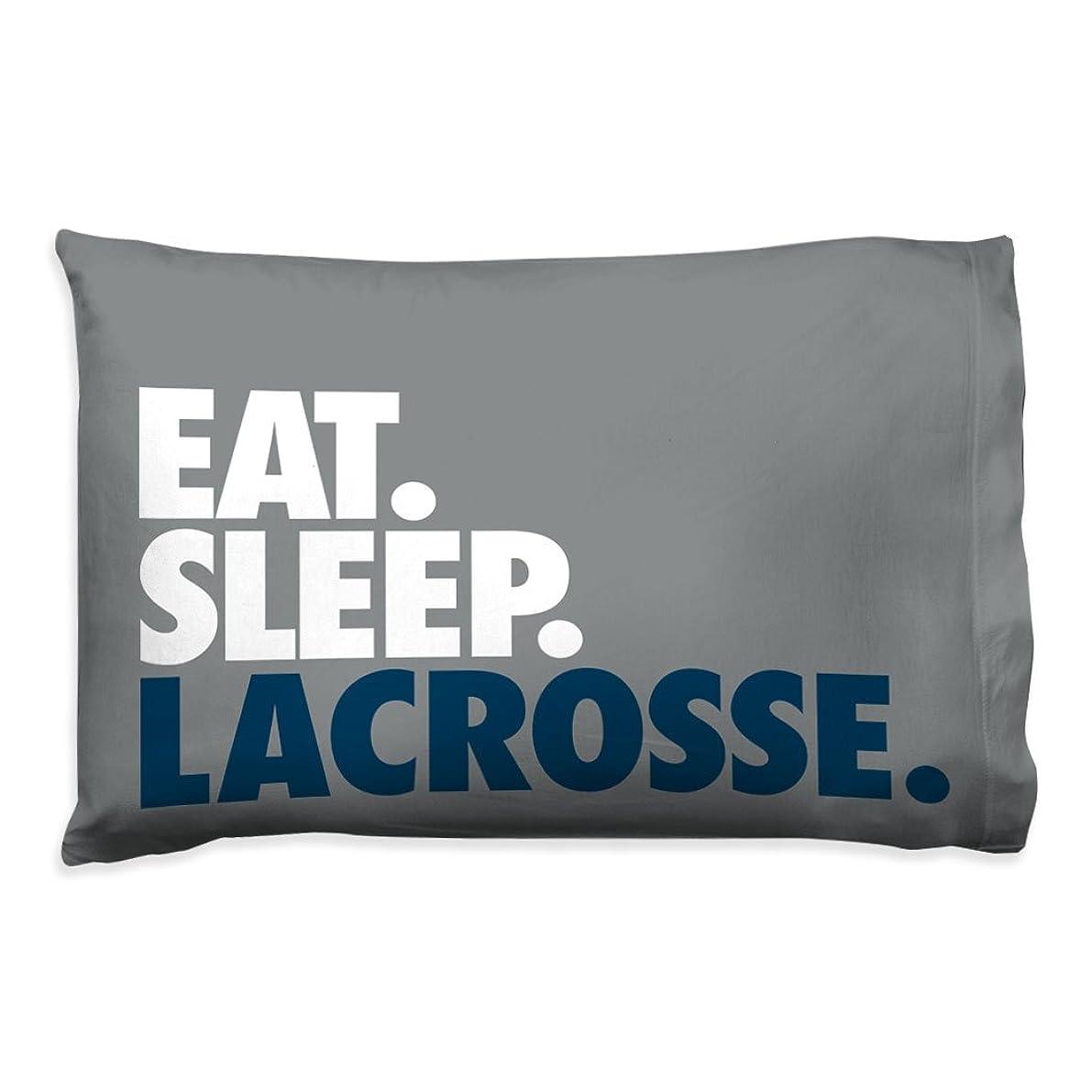 Eat Sleep Lacrosse Pillowcase | Guys Lacrosse Pillows by ChalkTalk Sports | Gray