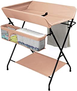 LNDDP Changing Table Baby  Foldable Infant Diaper Table Care Station  Prevent Baby from Tumbling  with Bottom Shelf