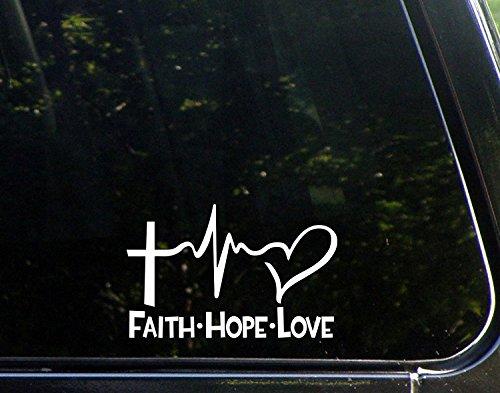 Starworld Faith Hope Love Aufkleber für Fenster, Auto, LKW, Weiß