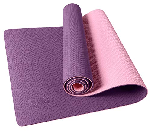IUGA Yoga Mat Non Slip Textured Surface, Reversible Dual Color, Eco Friendly Yoga Mat with Carrying Strap, Thick Exercise & Workout Mat for Yoga, Pilates and Fitness (72'x 24'x 6mm ) (Purple/Pink)