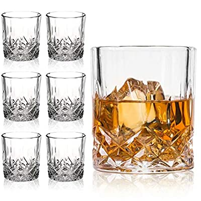 Farielyn-X Lead Free Crystal Old Fashioned Whiskey Glasses (Set of 6), 11 Oz Unique Bourbon Glass, Ultra-Clarity Double Old Fashioned Liquor Vodka Bourbon Cocktail Scotch Tumbler Bar Glasses Set