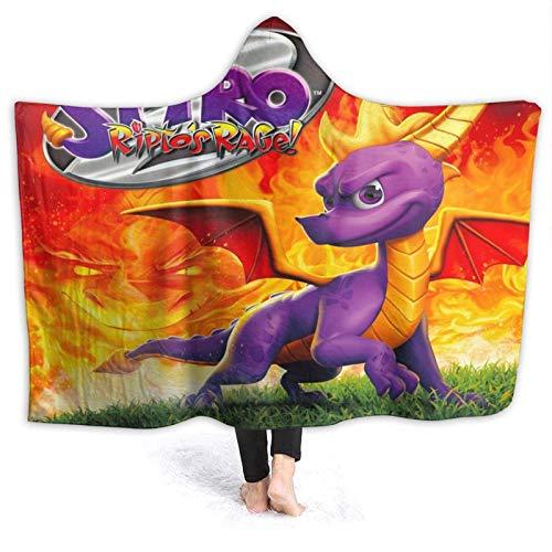 shishan Spyro Die Dragon Soft Micro Fleece-Kapuzendecke, ganzjährig warme, Flauschige Luxus-Mikrofaserdecke für Schlafsofa und Travel 50 * 60 Zoll