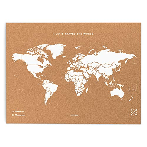 Miss Wood Map XL-Carte du Monde en LiÈ Ge 60x90 cm Blanc