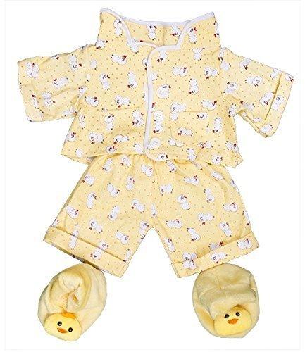 """Gelb küken pyjama & hausschuhe pjs outfit / teddy kleidung passend für 15"""" Build a Bear bären"""