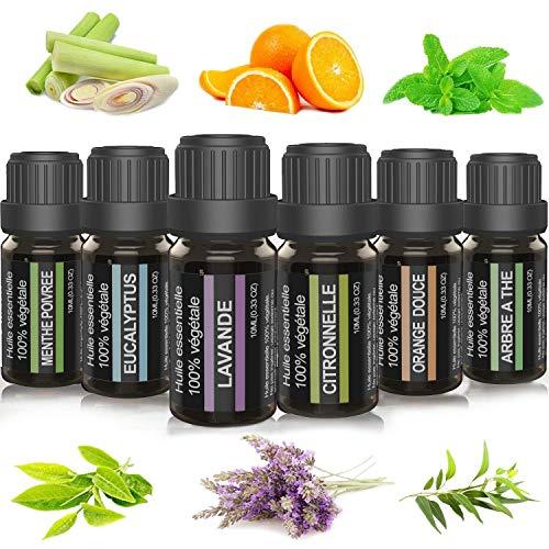 PLUZEN Lot huile essentielle pour aromathérapie. Huile essentielle pure et naturelle pour diffuseur. Mélange 6x10 ml (Eucalyptus, Lavande, Tea tree, Citronnelle, Menthe Poivrée et orange Douce).