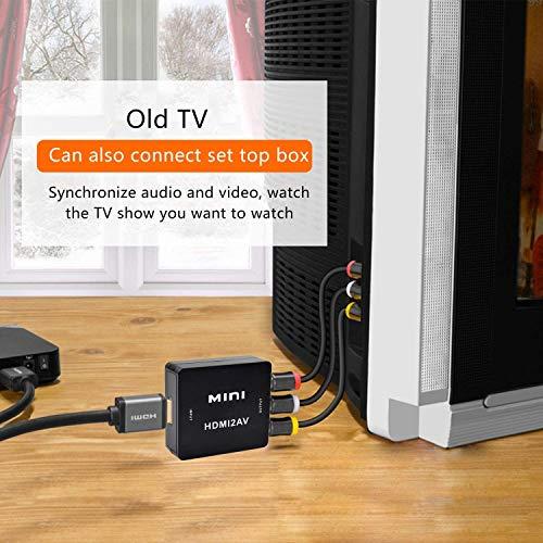 HDMI vers RCA Composite AV CVBS Vidéo Audio Convertisseur Adaptateur Soutien HDTV, 1080P Adaptateur HDMI vers RCA pour PC/Xbox/PS4/PS3/TV/VHS/DVD/Blu Ray, HDMI vers AV avec USB Câble