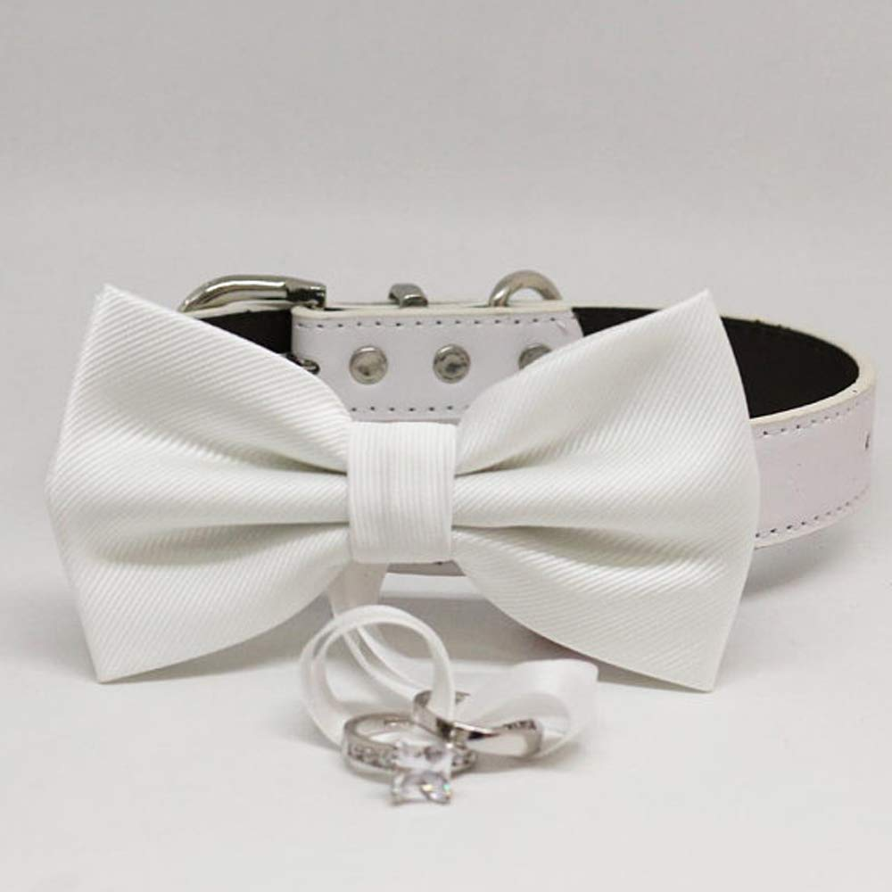 White bow tie collar Leather Cash special price dog adj bearer Popular products of honor ring