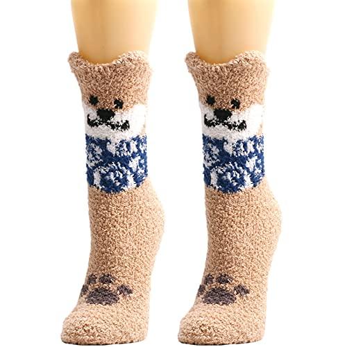 YWLINK Calcetines Termicos Invierno Mujer Calcetines Esponjosos Calcetines EláSticos Suaves Navidad Calcetines De Felpa CáLidos Calcetines Divertidos Calcetines De Estar por Casa (Caqui, Talla única)