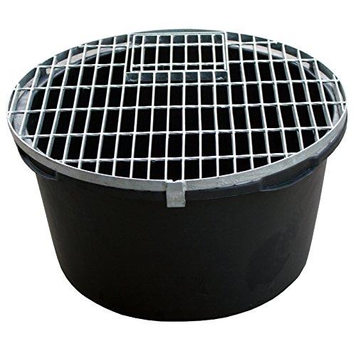 Set: PE Becken / Rundbecken + Abdeckgitter D=66cm, H=35cm, 90L für Wasserspiele u. Brunnen INTERGARDEN