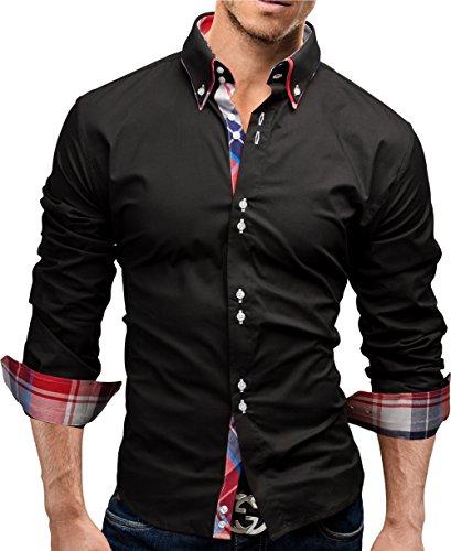 MERISH Hemd Slim Fit 3 Farben Größen S-XXL 17 Schwarz S