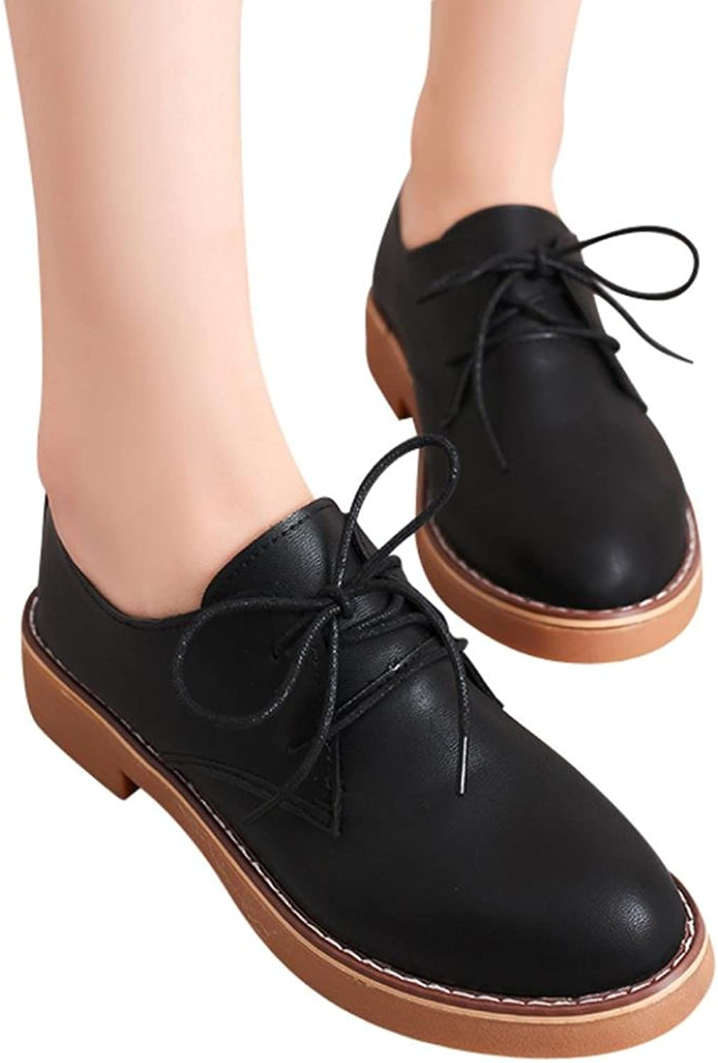 Fheaven (TM))))) Low Heel Flat shoes,Women Comfortable Lace up Leather shoes Pointed Toe Oxford shoes Black