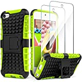 IDweel iPod Touch 7 Case with 2 Screen Protectors, Heavy Duty Dual Layer Shockproof Hybrid Rugged Armor Cover Case with Built-in Kickstand for Apple iPod Touch 5/6/7th Gen (Green)