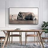 KWzEQ Imprimir en Lienzo Buda y Elefante Fotos Carteles y decoración del hogar para Sala de estar30x60cmPintura sin Marco