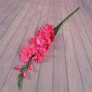 Silk Flower Arrangements 2020 New Realistic 1Pc Artificial Simulation Gladiolus Flower Stem Wedding Bouquet/Posy Table Arrangement Home Decor 8 Colors (Color : Rose red)