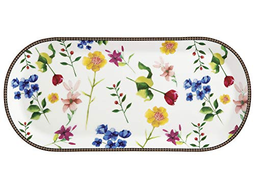 Maxwell & Williams Bandeja rectangular para servir con diseño de contessa, Porcelana, Blanco