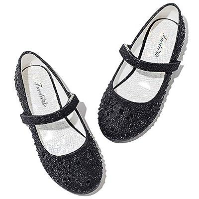 Black Low Heel Mary Jane Flower Girl Dress Shoes Toddler 0-6T Size 9.5 Party Wedding Little Kid School Uniform Formal Glitter Shoes 9.5 Flats Toddler Girl Mary Jane Casual Platform (Black 9)