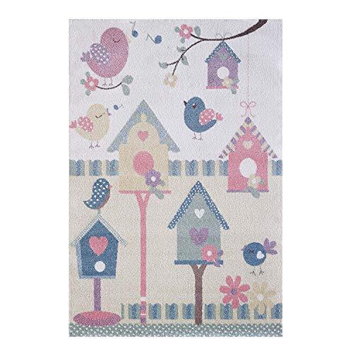 MyShop24h Kinderteppich Teppich Vögel Vogelhaus Pastell Farben Kinderzimmer Mädchen Jungen, Größe in cm:160 x 230 cm